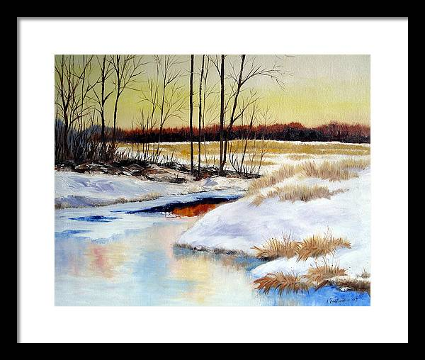 Maine Nature Paintings Original Art Landscape Framed Print featuring the painting Winter Stream 1107 by Laura Tasheiko