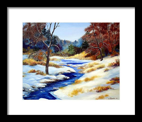 Maine Snow Winter Trees Nature Paintings Original Art Framed Print featuring the painting Winter Stream by Laura Tasheiko