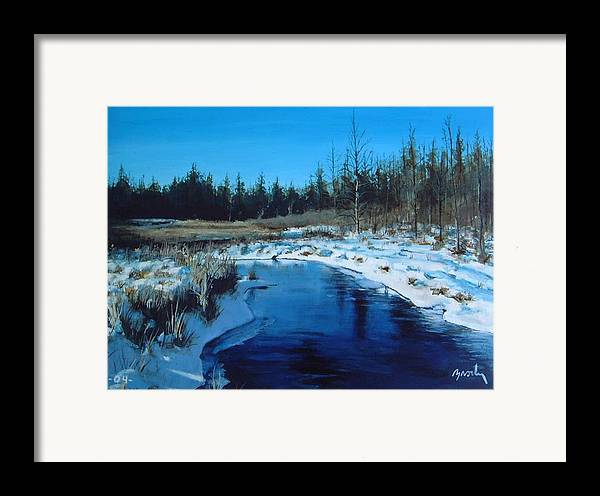 Landscape Realistic Framed Print featuring the painting Winter Stream by William Brody