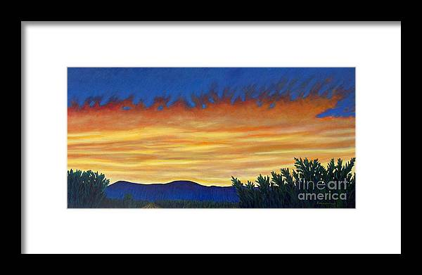 Sunset Framed Print featuring the painting Winter Sunset In El Dorado by Brian Commerford