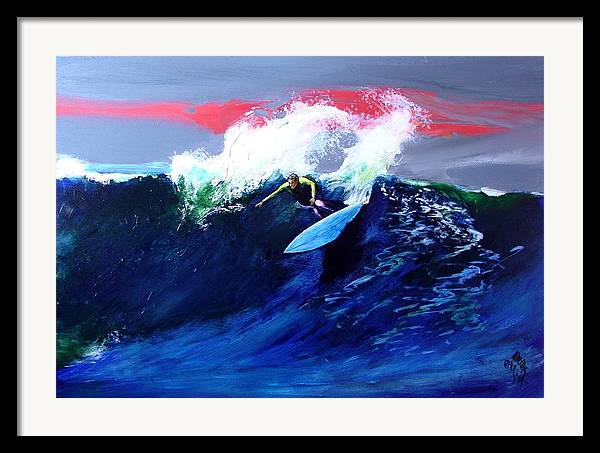 Surf Framed Print featuring the painting Winter Sunset Off Swamis Encinitas by Paul Miller