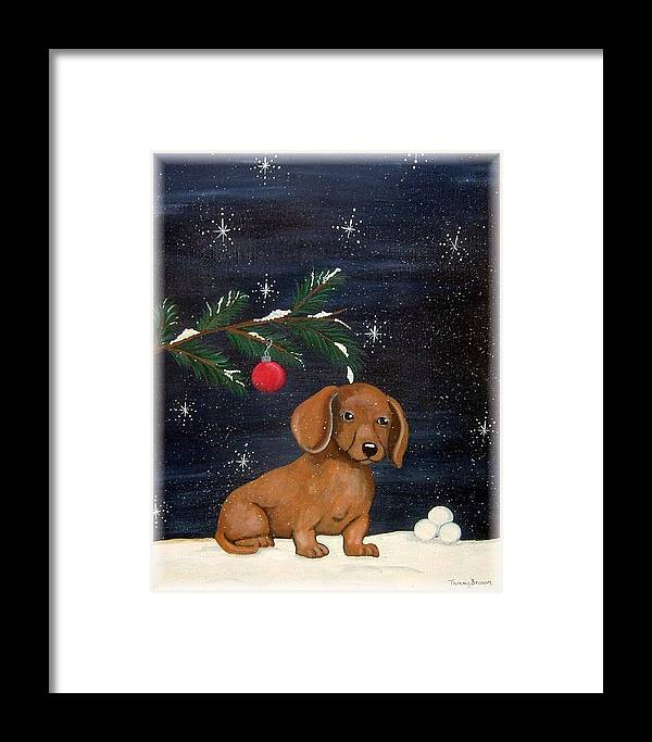 Dachshund Framed Print featuring the painting Winter by Tammy Brown