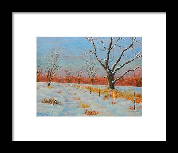 Winter Framed Print featuring the painting Winter Trail Carter by John Carter