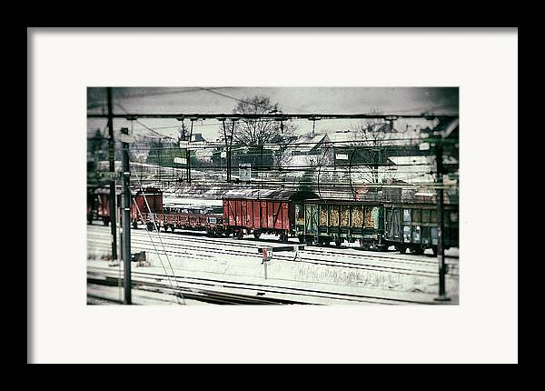 Railroad Framed Print featuring the photograph Winter Transport by Wim Lanclus