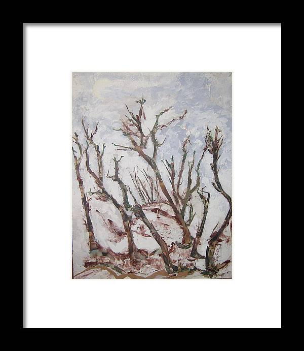 Trees Framed Print featuring the painting Winter Trees by Helene Champaloux-Saraswati