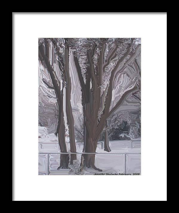 Landscape Framed Print featuring the digital art Winter Trees by Jennifer Skalecke