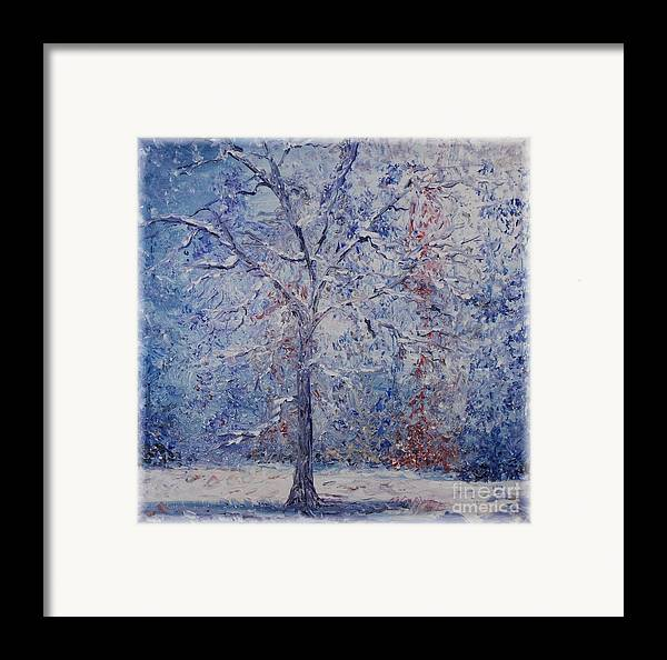 Winter Framed Print featuring the painting Winter Trees by Nadine Rippelmeyer