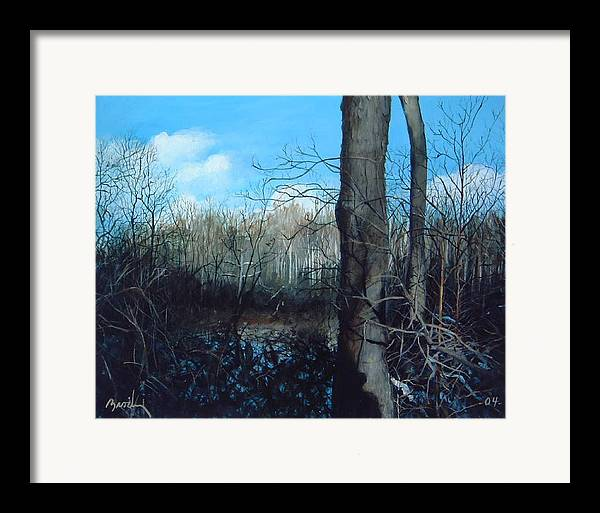 Landscape Framed Print featuring the painting Winter Trees by William Brody