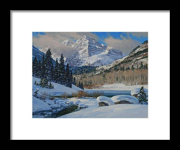 Landscape Framed Print featuring the painting Winter Willows by Lanny Grant