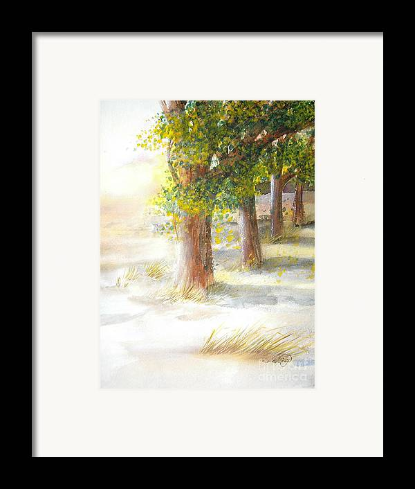 Landscape Framed Print featuring the painting Winter Winds by Vivian Mosley