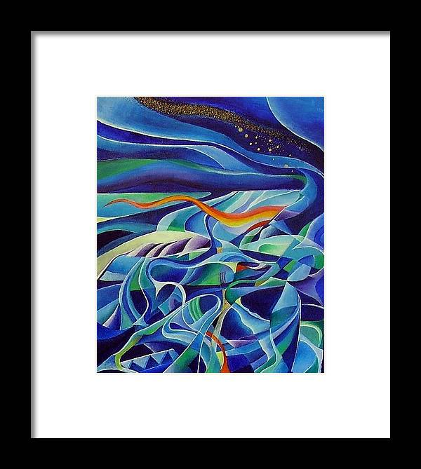 Winter Vivaldi Music Abstract Acrylic Framed Print featuring the painting Winter by Wolfgang Schweizer