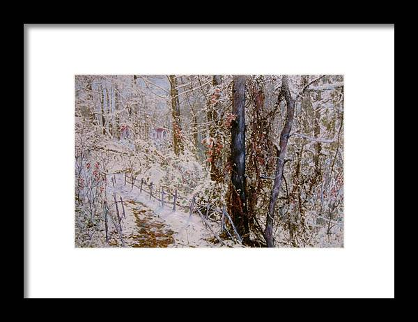 Snow; Trees Framed Print featuring the painting Winter Wonderland by Ben Kiger
