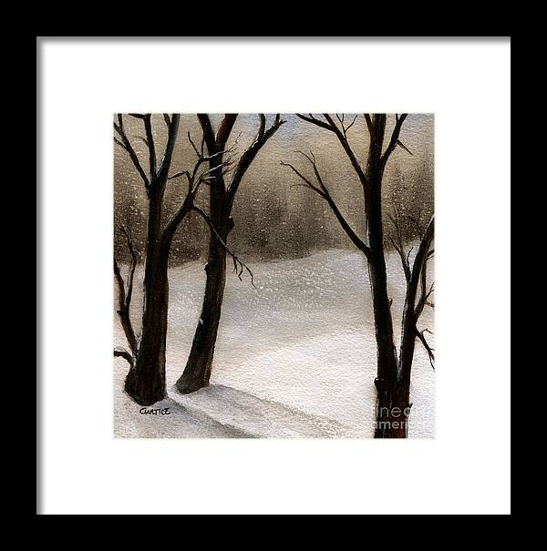 Snow Framed Print featuring the painting Winter Woods by Carolyn Curtice