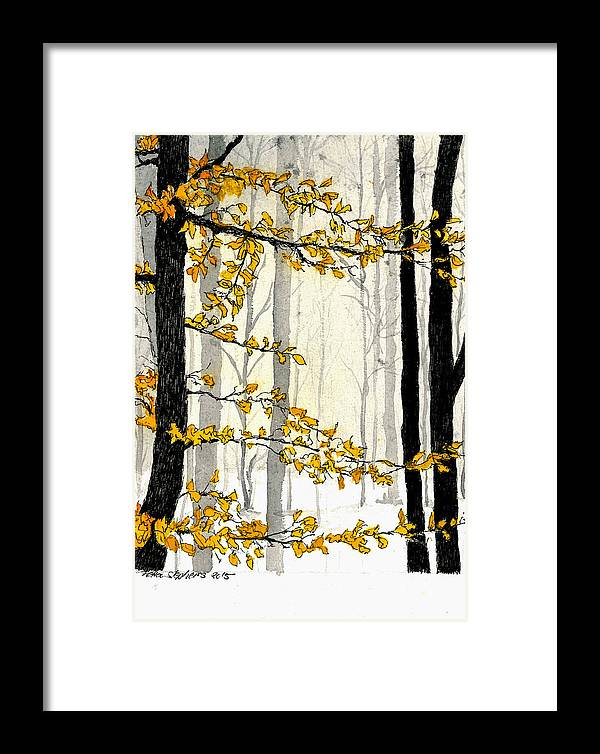 Nature Framed Print featuring the painting Winter Woods by Petra Stephens