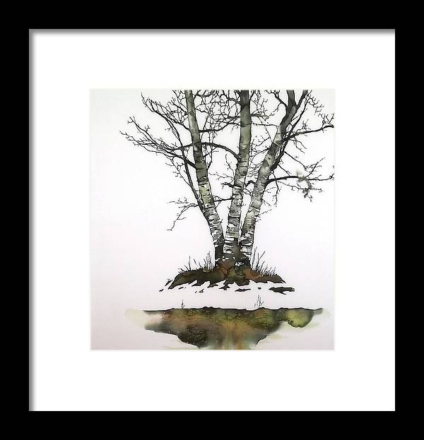 Birch Framed Print featuring the tapestry - textile Winters Birch by Carolyn Doe