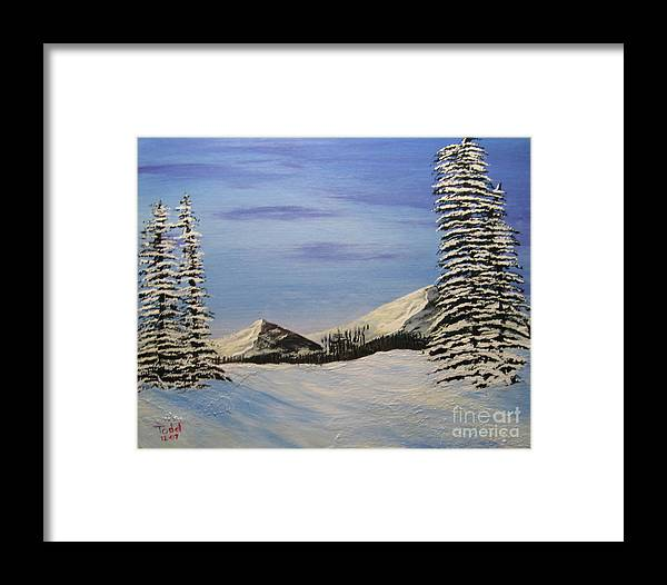 Landscape Framed Print featuring the painting Winters Chill by Todd Androy