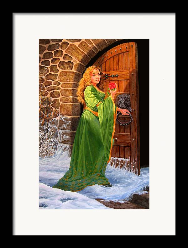 Medievil Framed Print featuring the painting Winter's Last Rose by Pat Lewis