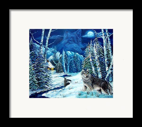 Wolf Framed Print featuring the painting Winters Night 2 by Darlene Green