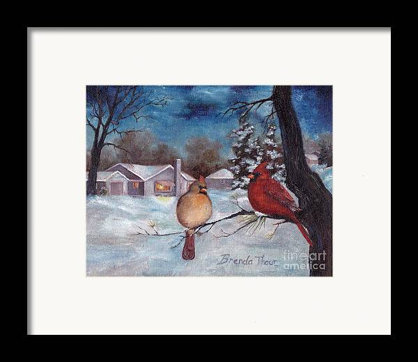 Cardinals Framed Print featuring the painting Winters Serenity by Brenda Thour