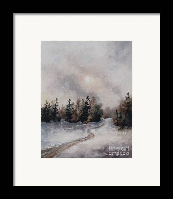Winter Framed Print featuring the painting Winters Sunset by Brenda Thour