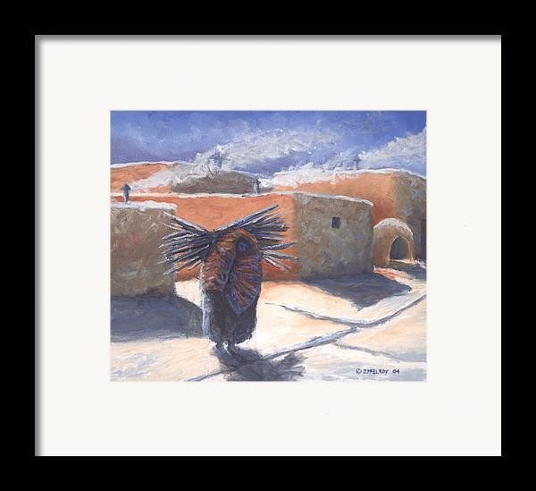 Adobe Framed Print featuring the painting Winter's Work by Jerry McElroy