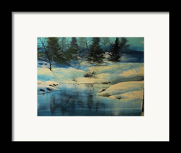 Landscape Framed Print featuring the painting Winterscape by Robert Carver