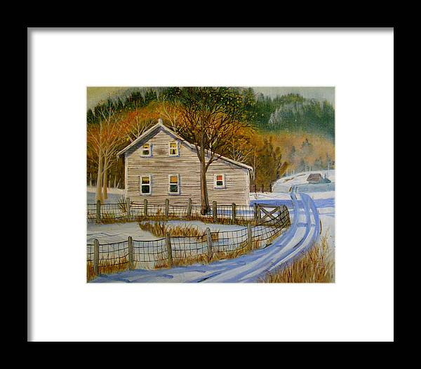 Landscape Framed Print featuring the painting Wintery Country Road by Teresa Boston