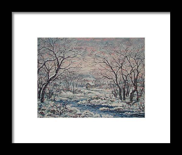Landscape Framed Print featuring the painting Wintery December by Leonard Holland