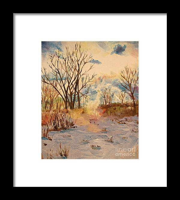 Landscape Framed Print featuring the painting Wintry Walk by Tina Sheppard