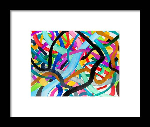Abstacts Framed Print featuring the painting Wires by Katina Cote