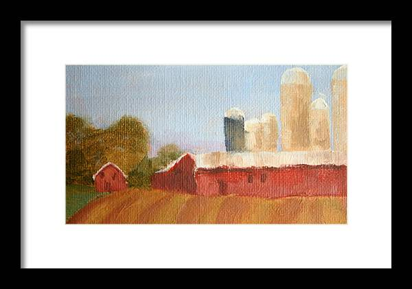Wisconsin Framed Print featuring the painting Wisconsin Farmland by Martha Layton Smith