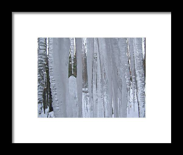 Ice Framed Print featuring the photograph Wisconsin Icicles by Wendy Smith