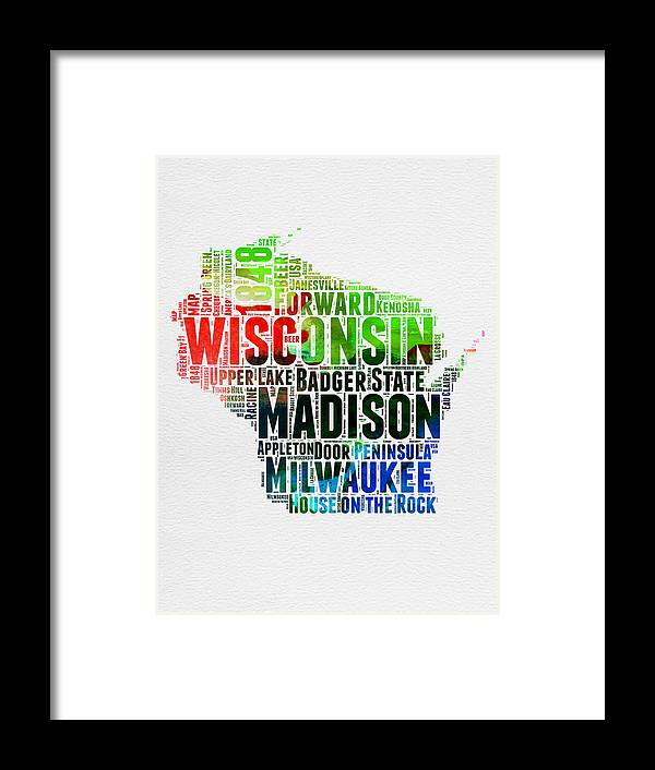 Wisconsin Framed Print featuring the digital art Wisconsin Watercolor Word Cloud Map by Naxart Studio