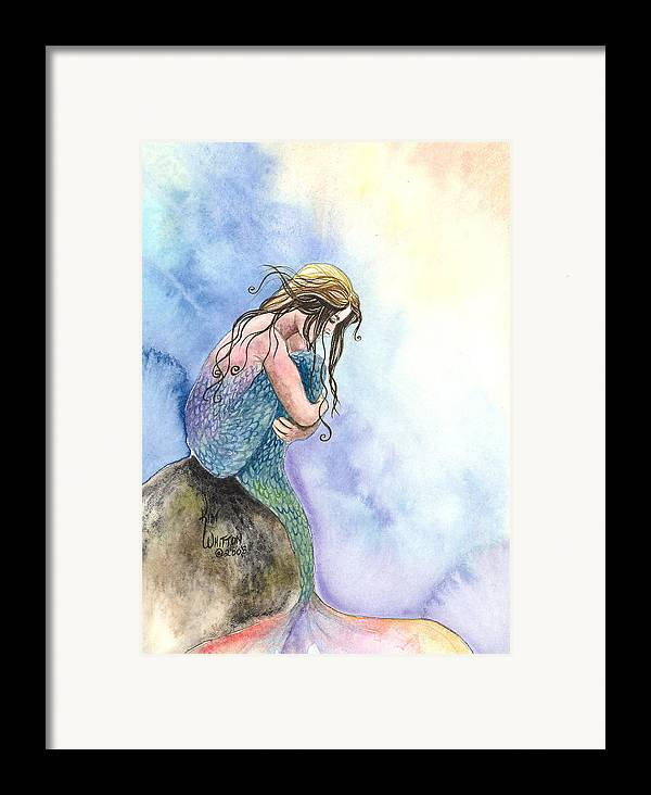 Mermaid Framed Print featuring the painting Wishful Thinking by Kim Sutherland Whitton