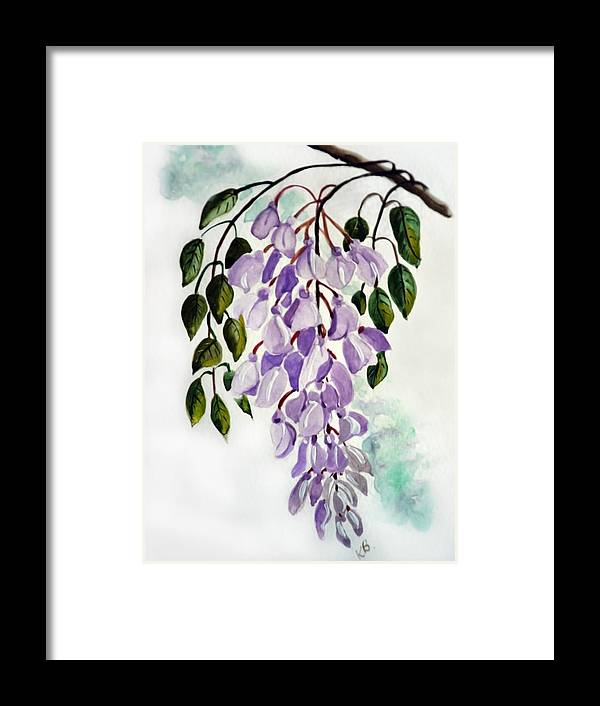 Floral Paintings Flower Paintings Wisteria Paintings Botanical Paintings Flower Purple Paintings Greeting Card Paintings  Framed Print featuring the painting Wisteria by Karin Dawn Kelshall- Best