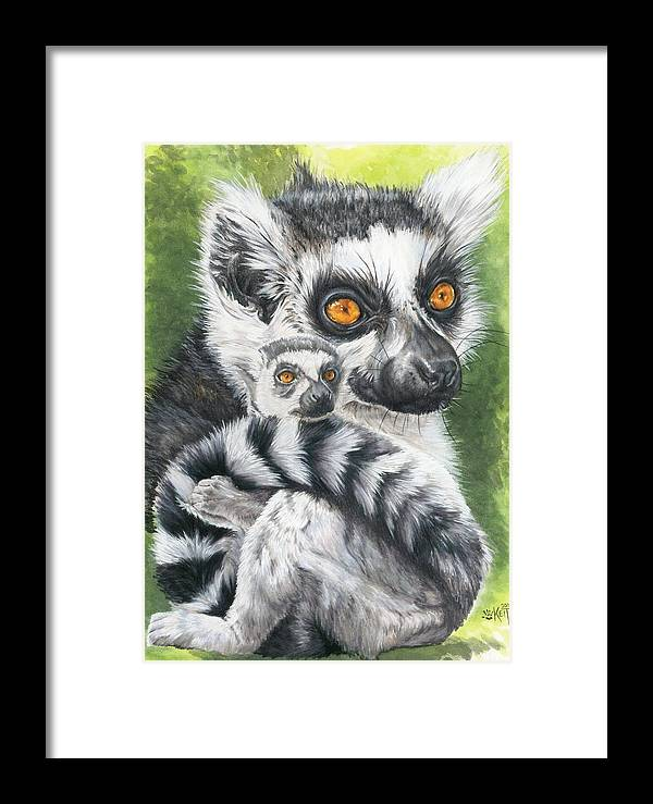 Lemur Framed Print featuring the mixed media Wistful by Barbara Keith