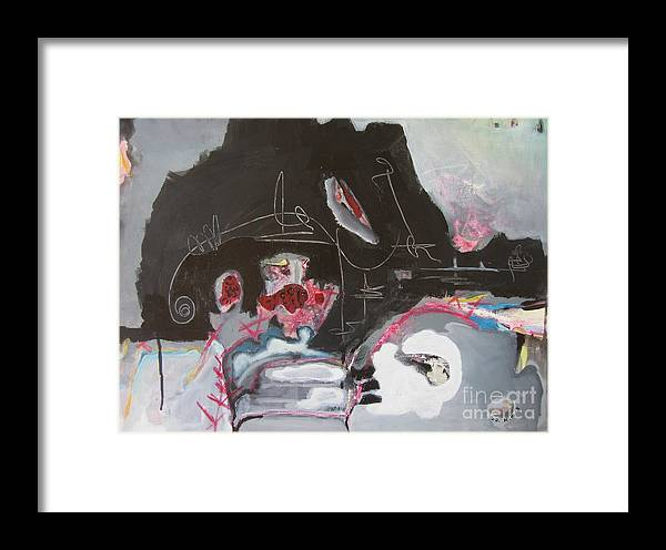Abstract Paintings Framed Print featuring the painting With Little Escape From Life by Seon-Jeong Kim