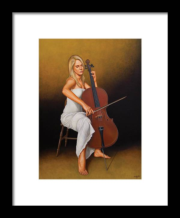 Woman Framed Print featuring the painting With Music In Her Soul by Horacio Cardozo