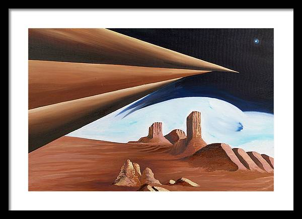 Abstract Geometry Landscape Framed Print featuring the painting Within Our Imagination by Ara Elena