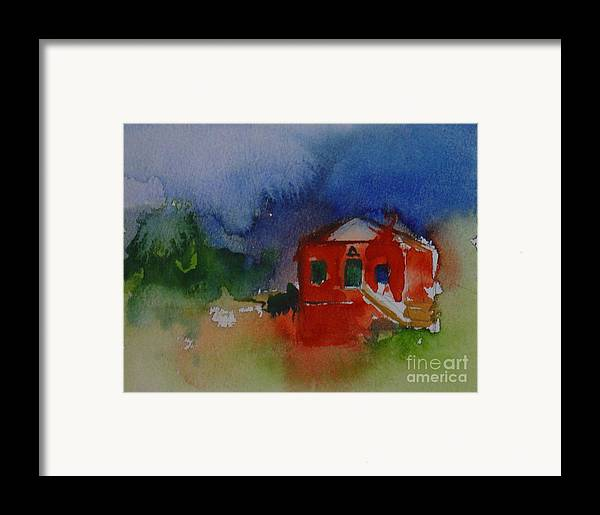 Barn Red Watercolor House Home Abstract Original Leilaatkinson Framed Print featuring the painting Within Red by Leila Atkinson