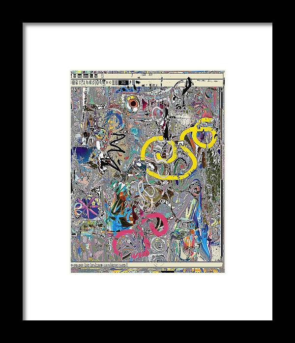 Abstract Red Blue Yellow Purple Framed Print featuring the digital art wiz by Dave Kwinter