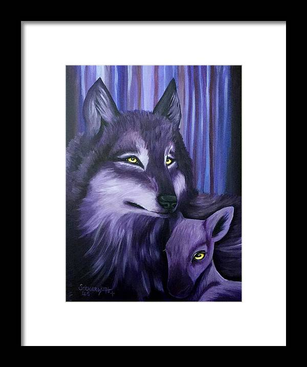 Wolf Framed Print featuring the painting Wolf And Reindeer by Kimberly Schwarzkopf