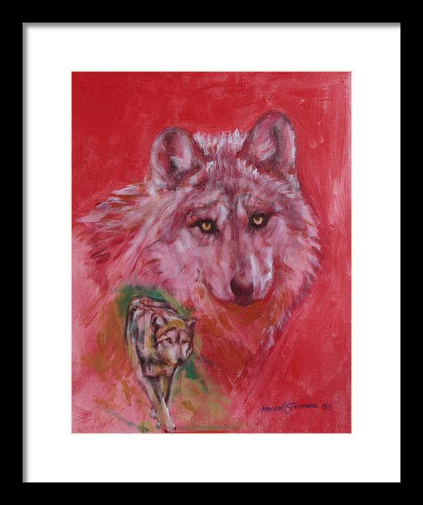 Bbkexperi Framed Print featuring the painting Wolf by Howard Stroman