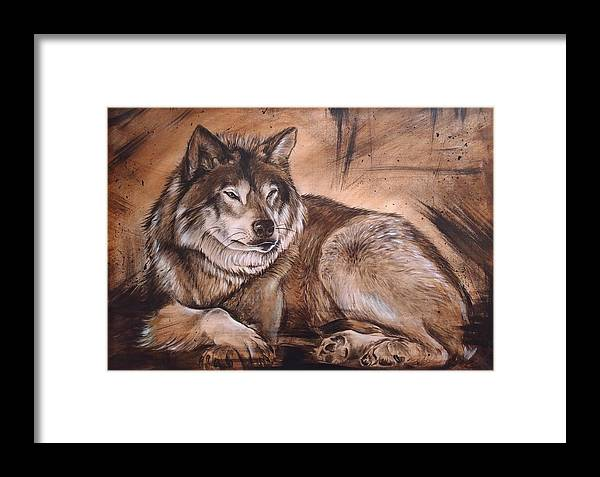 Wolf Painting Framed Print featuring the painting Wolf by JAndy