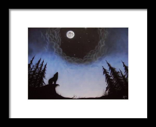 Wolf Framed Print featuring the painting Wolf Moon by Devaron Jeffery