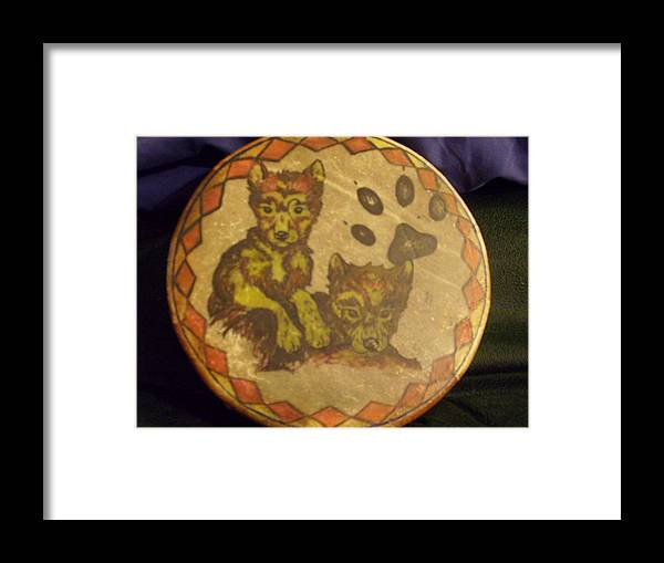 Drum Framed Print featuring the painting Wolf Pup Drum by Angelina Benson