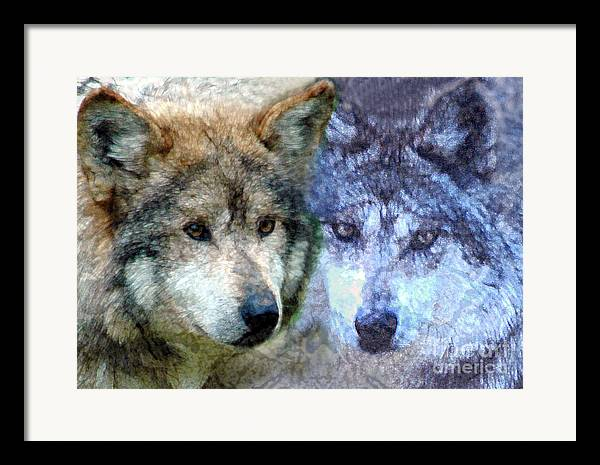 Bbkexperi Framed Print featuring the digital art Wolves by Tom Romeo