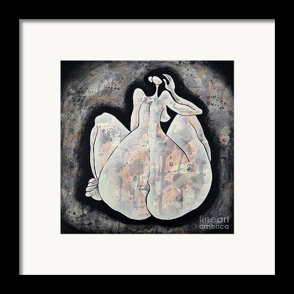 Body Framed Print featuring the painting Woman 13 From When De Body Talks Collection by Son Of the Moon