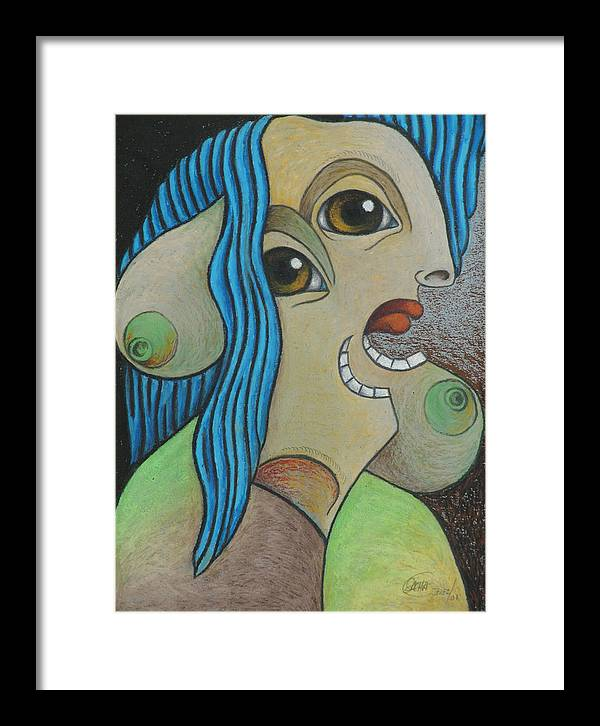 Sacha Circulism Circulismo Framed Print featuring the drawing Woman 2001 by S A C H A - Circulism Technique