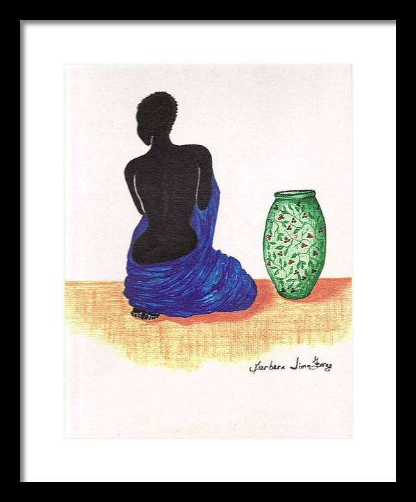 Framed Print featuring the drawing Woman And A Ginger Jar by Bee Jay